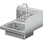 BRAZOS 16GA 14 X 10 X 5 HANDSINK W / DECK FAUCET  END SPLASH RIGHT